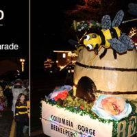 "This ""bee float"" was created by members of the bee club in Hood River, Oregon. Their goal was to help build awarness of the need to help bees."
